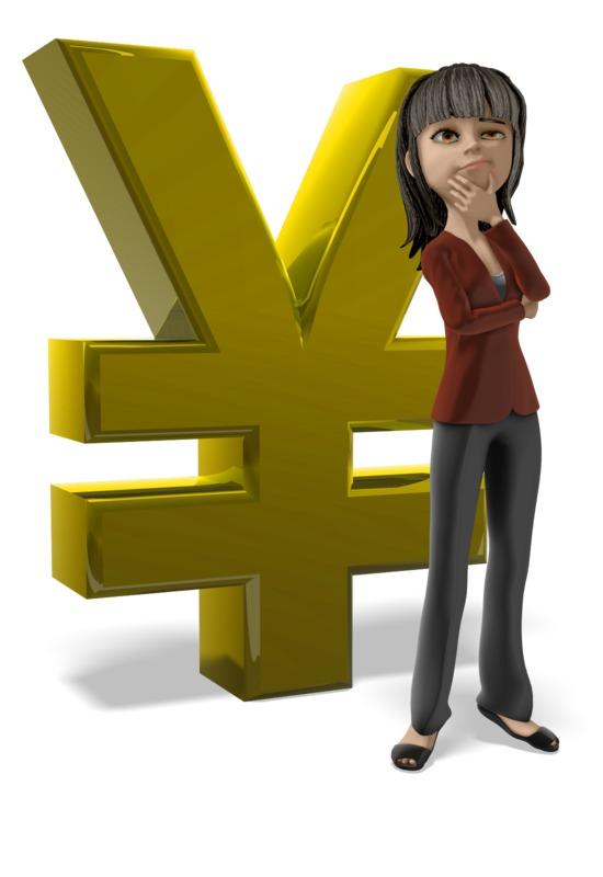 Clipart - Businesswoman Thinking Yen Symbol
