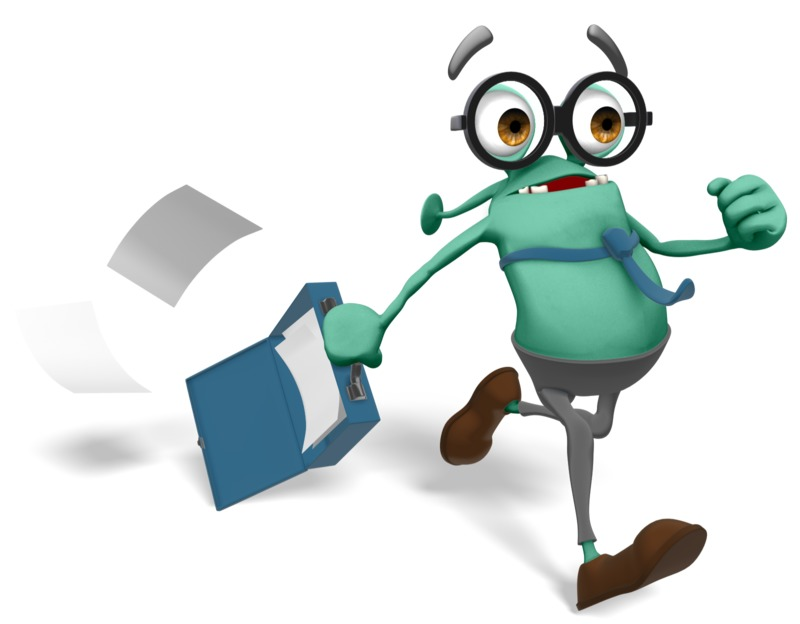 Clipart - Jerry Running Late For Work