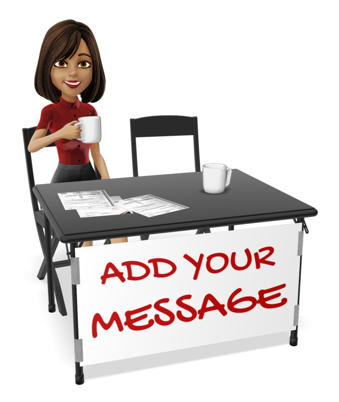 This Presentation Clipart shows a preview of Woman At Table Talk Custom