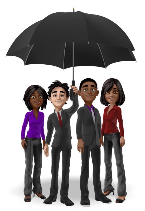Clipart - Team Under Umbrella