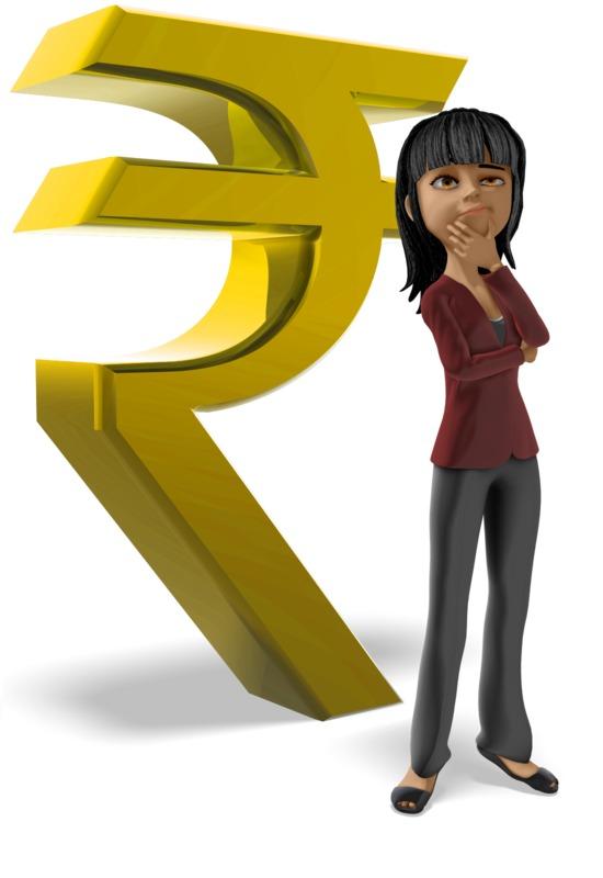 Clipart - Businesswoman Thinking Rupee Symbol