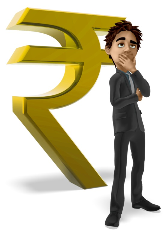 Clipart - Businessman Thinking Rupee Symbol