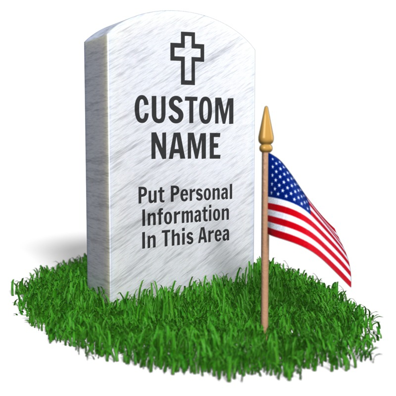 Put your own details on this military headstone to remember someone on Memorial Day.