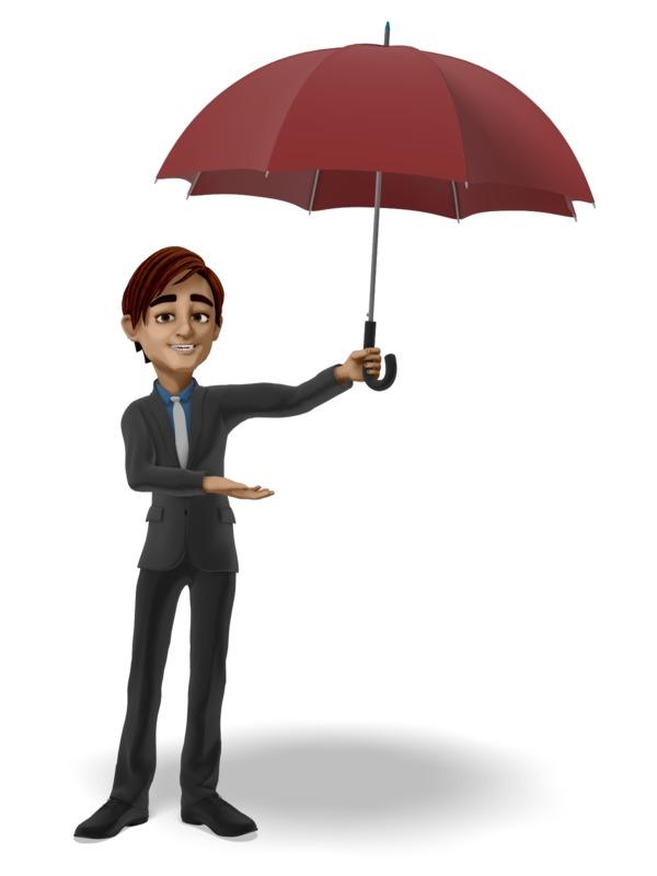 Clipart - Businessman Offering Umbrella
