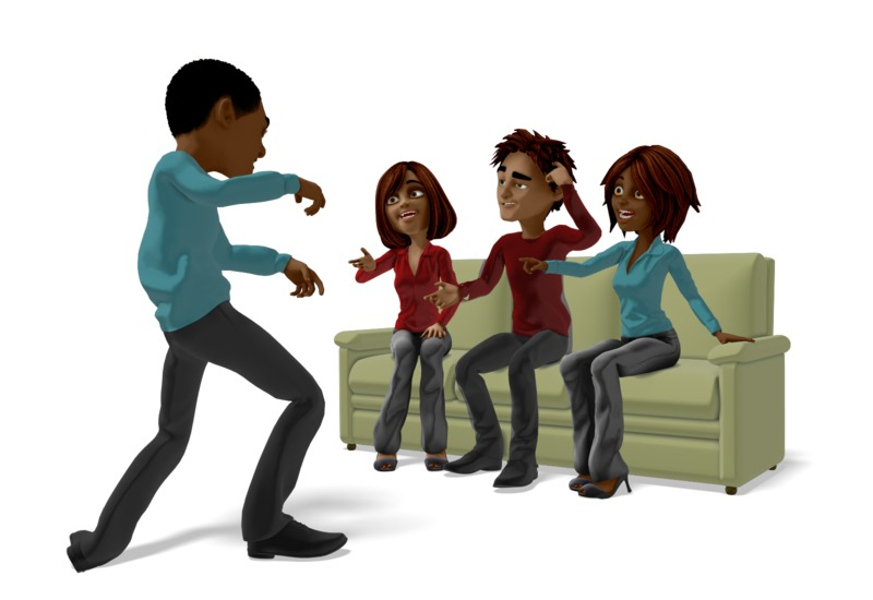 Clipart - Group Playing Charades