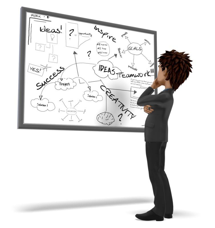 Clipart - Businessman Pondering White Board