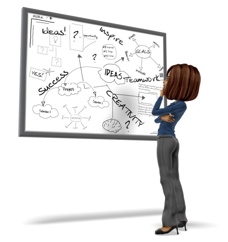 Clipart - Businesswoman Pondering White Board