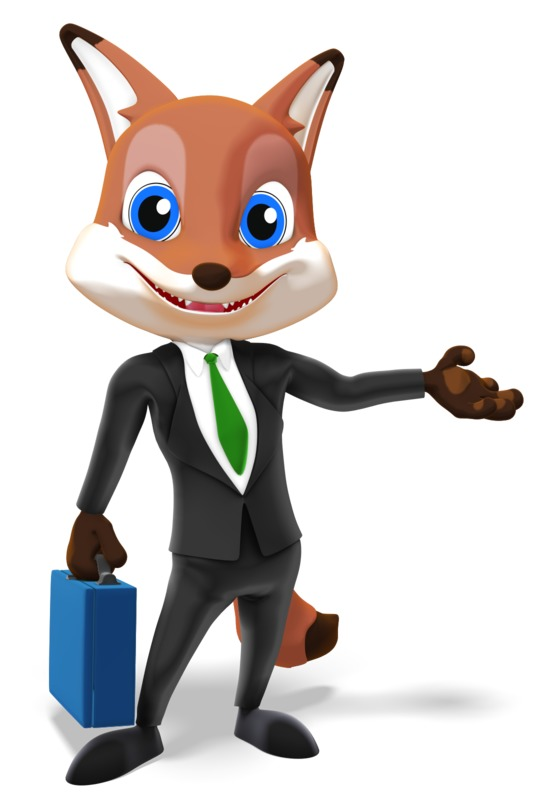Clipart - Male Business Fox Presenting To Side