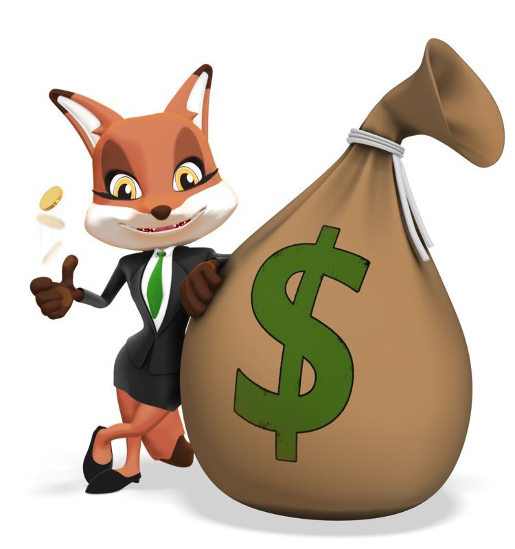 Clipart - Female Business Fox Large Money Bag