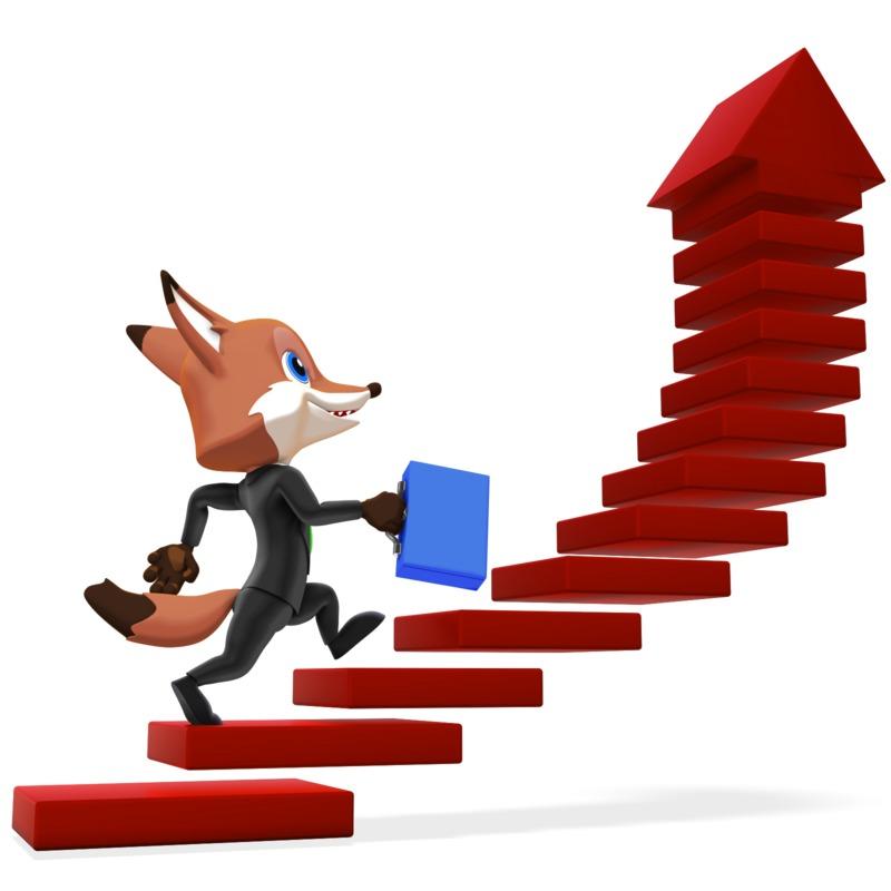 Clipart - Male Business Fox Running Up Arrow