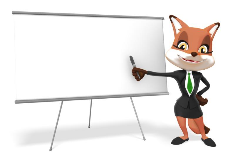 Clipart - Female Business Fox Presenting Blank Board