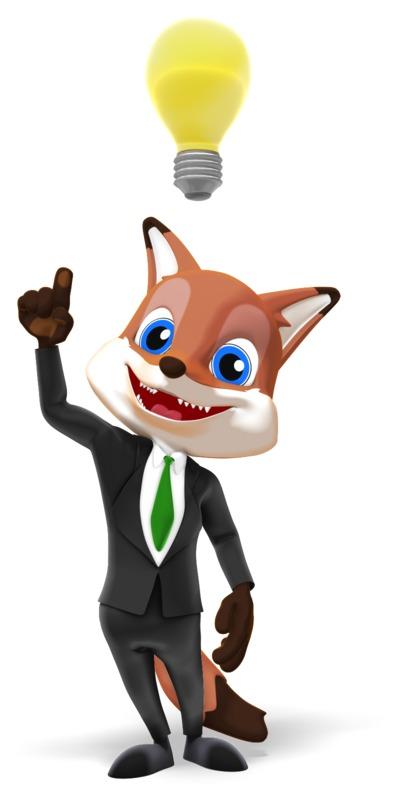 Clipart - Male Business Fox Bright Idea