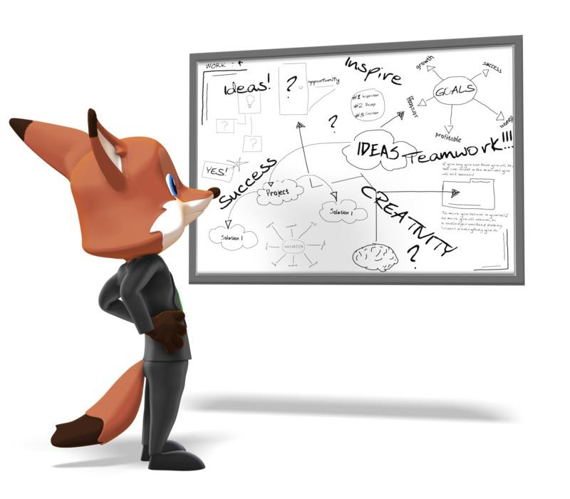 Clipart - Male Business Fox Pondering White Board
