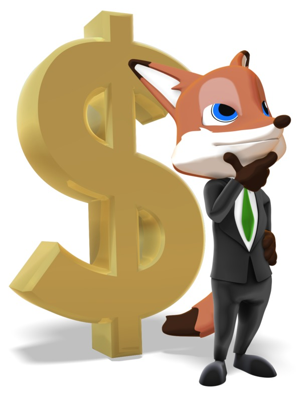 Clipart - Male Business Fox Thinking Dollar Sign