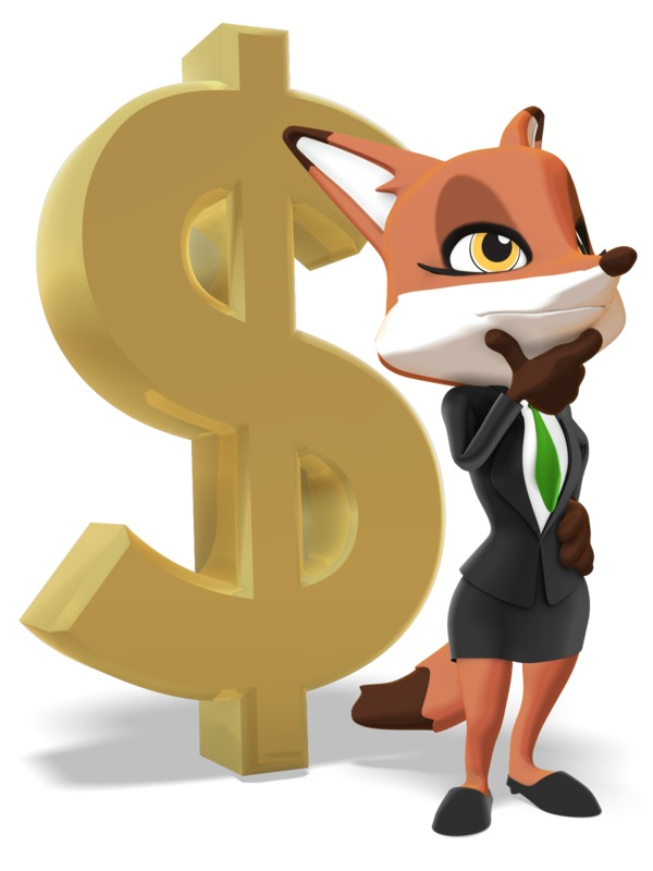 Clipart - Female Business Fox Thinking Dollar Sign