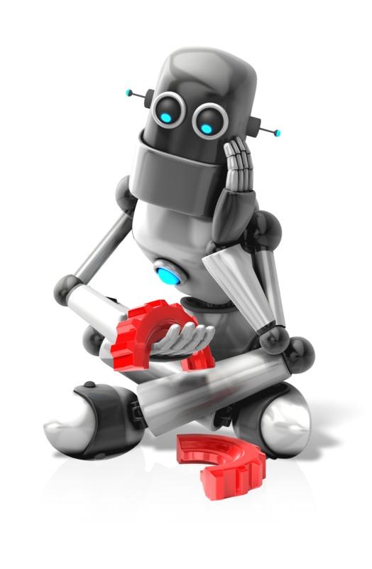 Clipart - Robot Broken Gear Sad