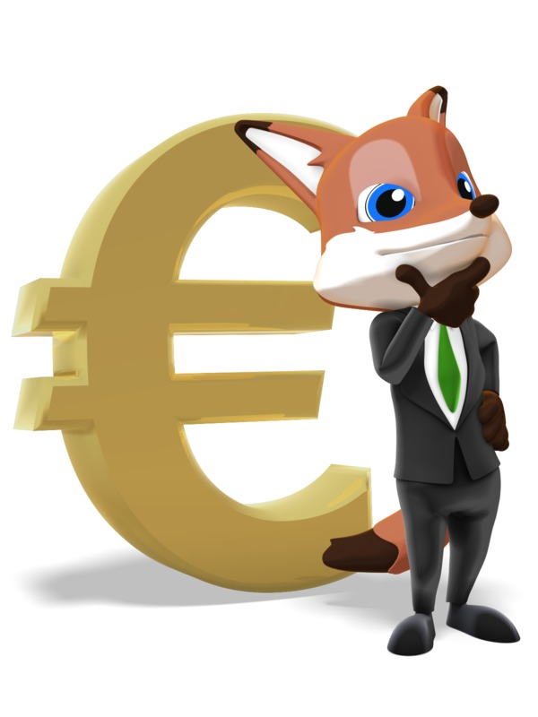 Clipart - Male Business Fox Thinking Euro Symbol