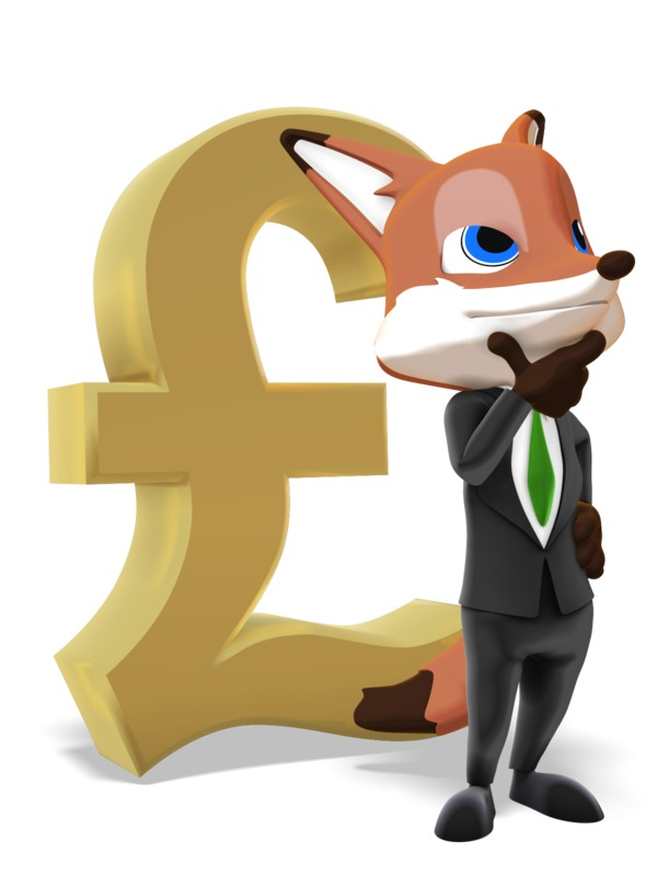 Clipart - Male Business Fox Thinking Pound Symbol
