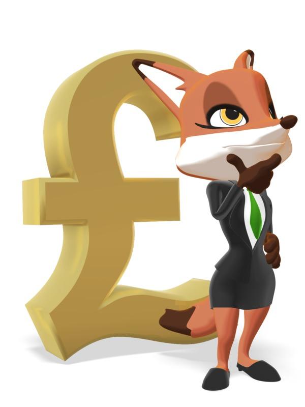 Clipart - Female Business Fox Thinking Pound Symbol