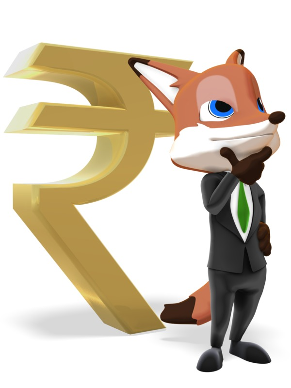 Clipart - Male Business Fox Thinking Rupee Symbol