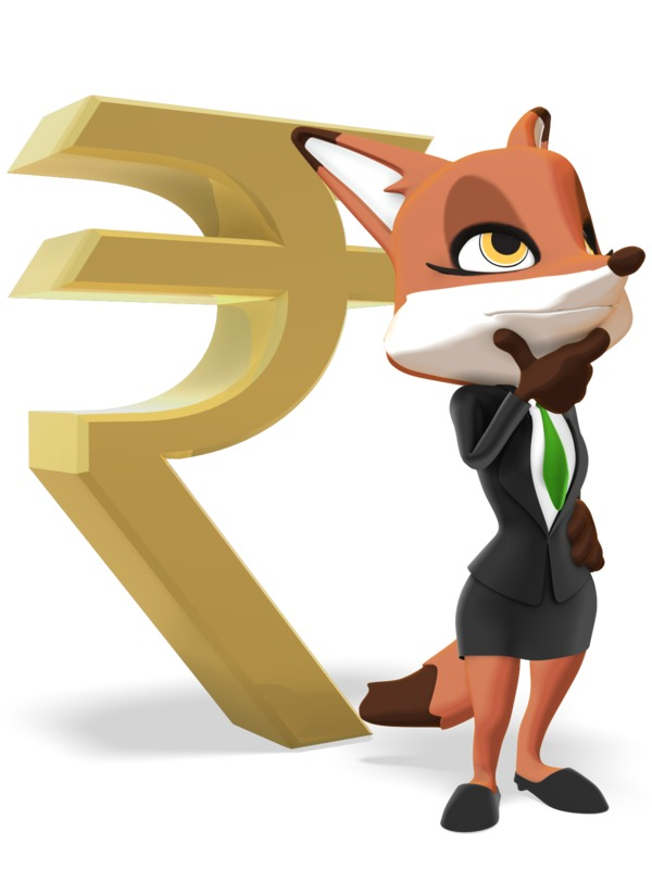 Clipart - Female Business Fox Thinking Rupee Symbol