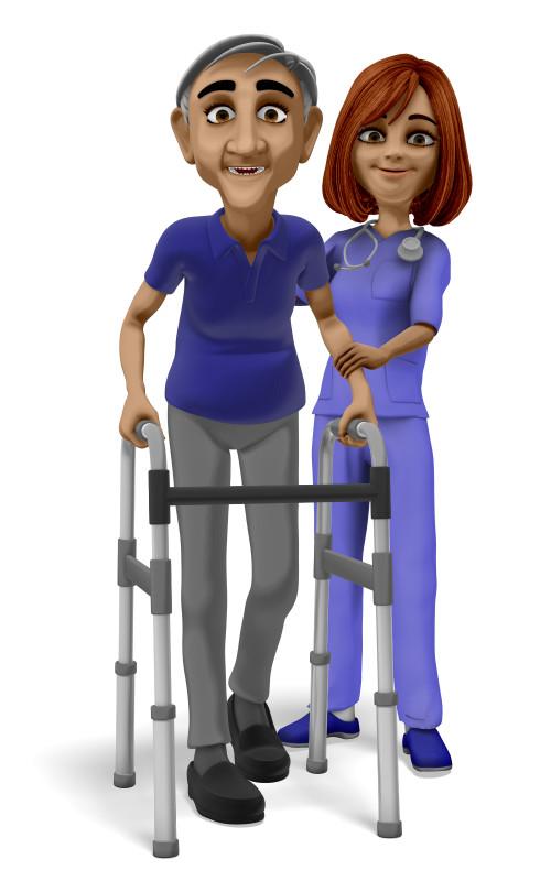 Clipart - Nurse Assisting Elderly Man With Walker