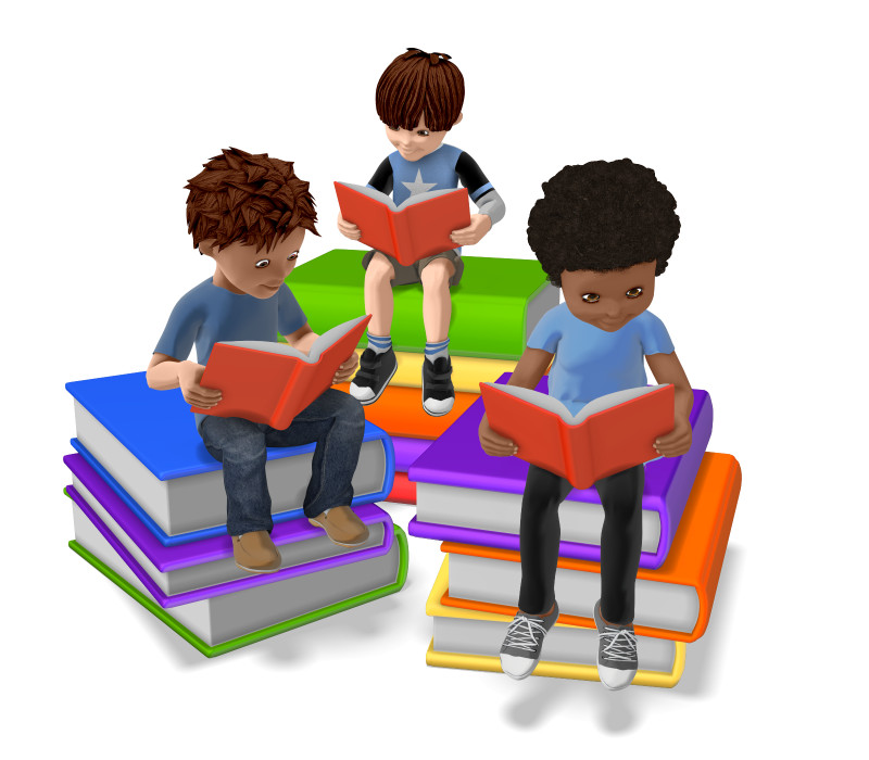 Clipart - Group of Students Reading On Stack of Books