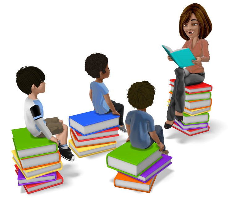 Clipart - Teacher Reading to Students