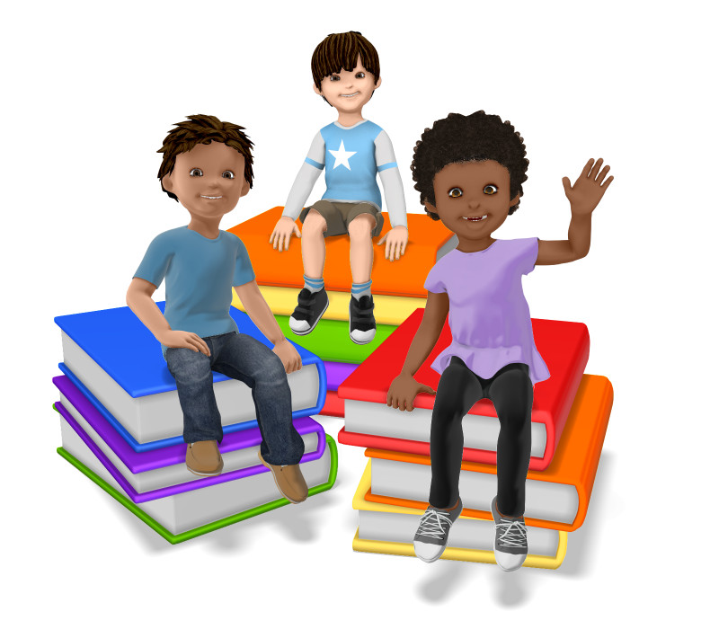Clipart - Group of Students Sitting on Stack of Books