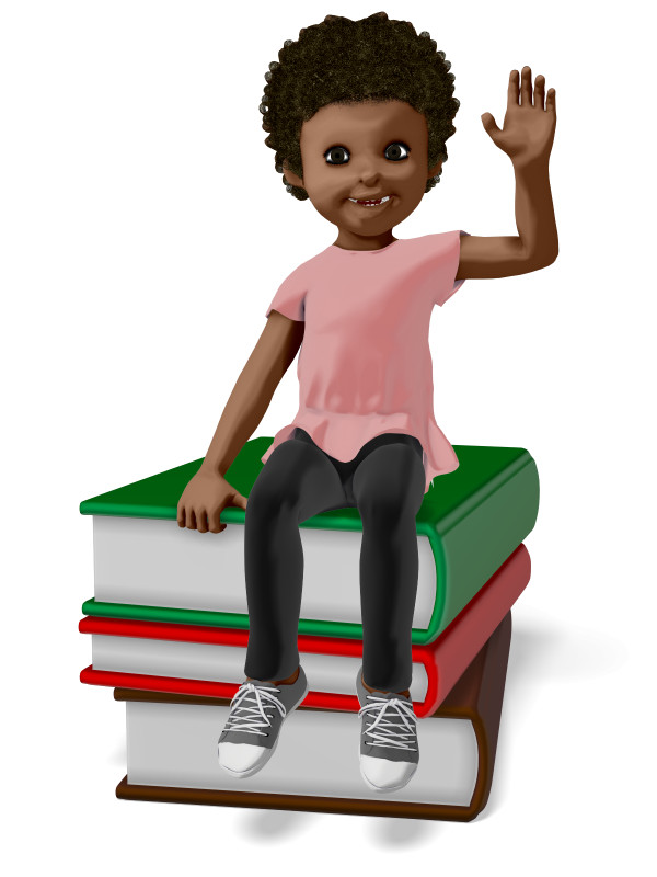 Clipart - Chloe Sitting On Stack of Books