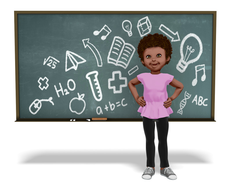 Clipart - Chloe In Front Of Chalkboard