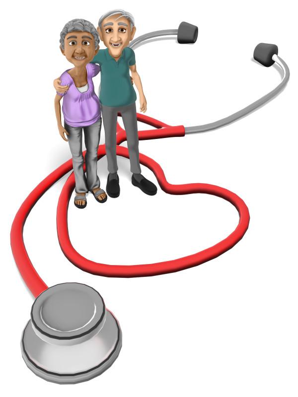 Clipart - Elderly Couple Stethoscope Heart