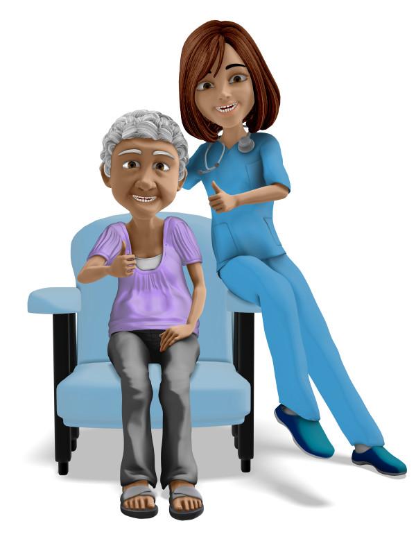 Clipart - Nurse Elderly Woman Thumbs Up
