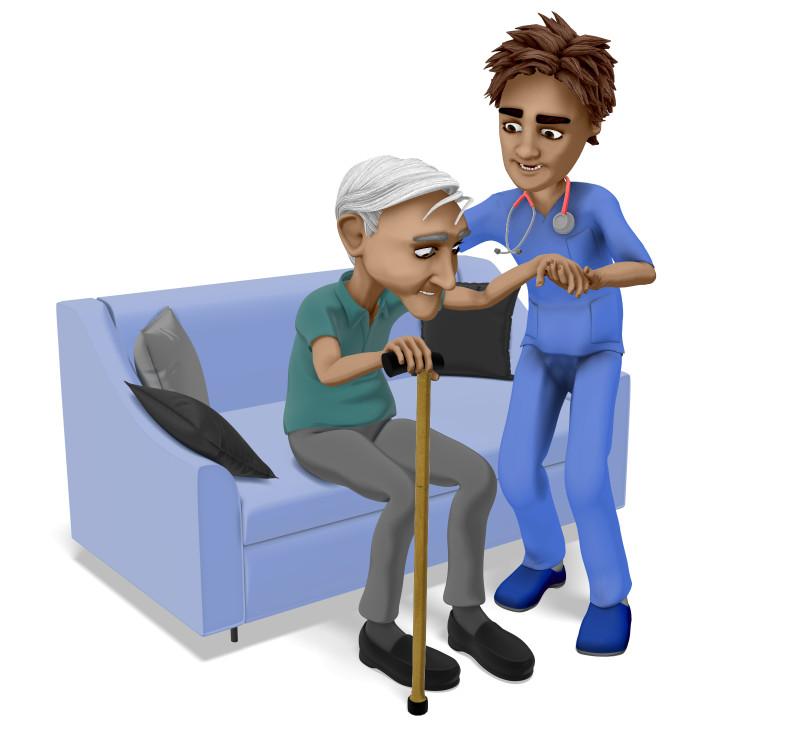 Clipart - Nurse Brad Elderly Man Cane Stand Up