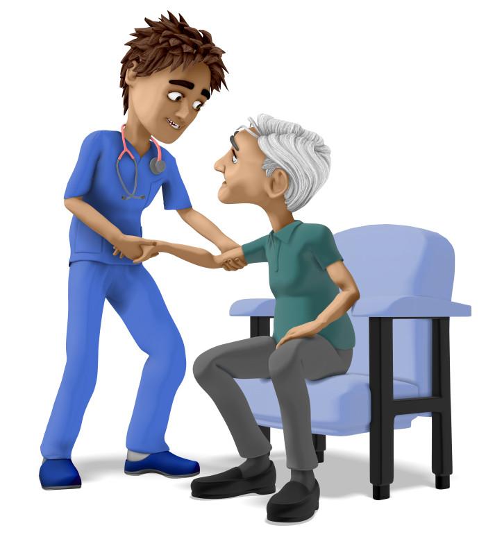 Clipart - Nurse Brad Assisting Elderly Man In Chair