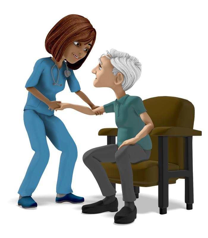 Clipart - Nurse Assisting Elderly Man In Chair