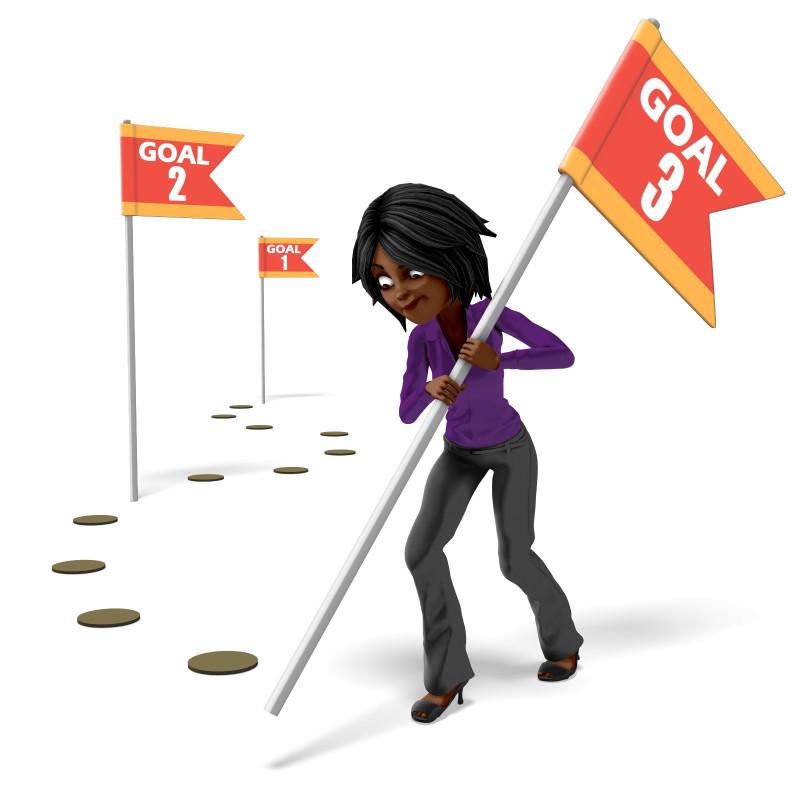 Clipart - Businesswoman Setting Multiple Goals