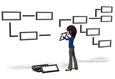 An image of a woman organizing a flow chart.