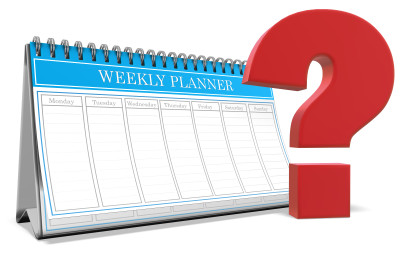 A weekly planner calendar with a large question mark next to it.