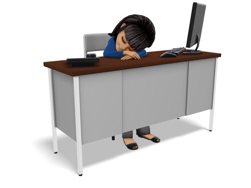 Clipart - Businesswoman Asleep At Desk