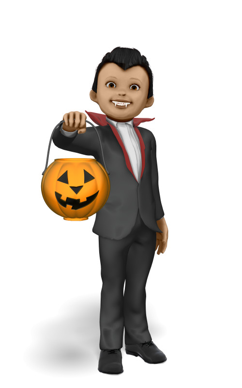 Clipart - Young Vampire Candy Bucket