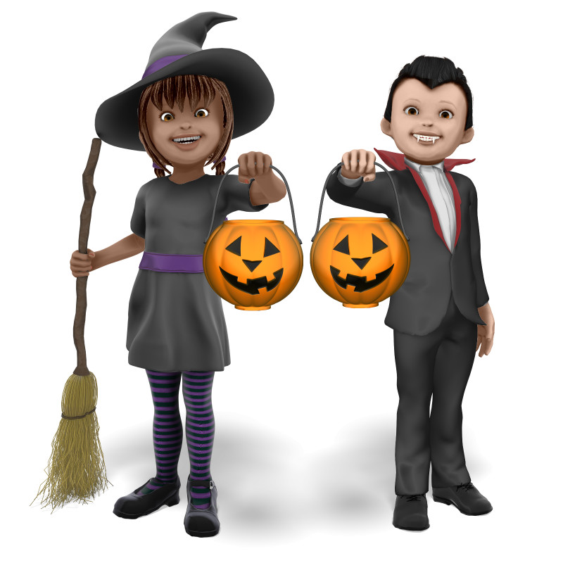 Clipart - Young Witch and Vampire Candy Bucket