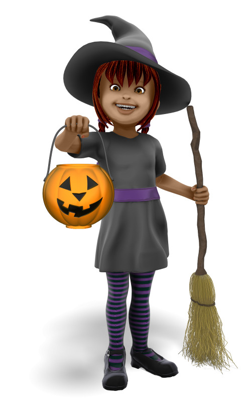 Clipart - Young Witch Candy Bucket