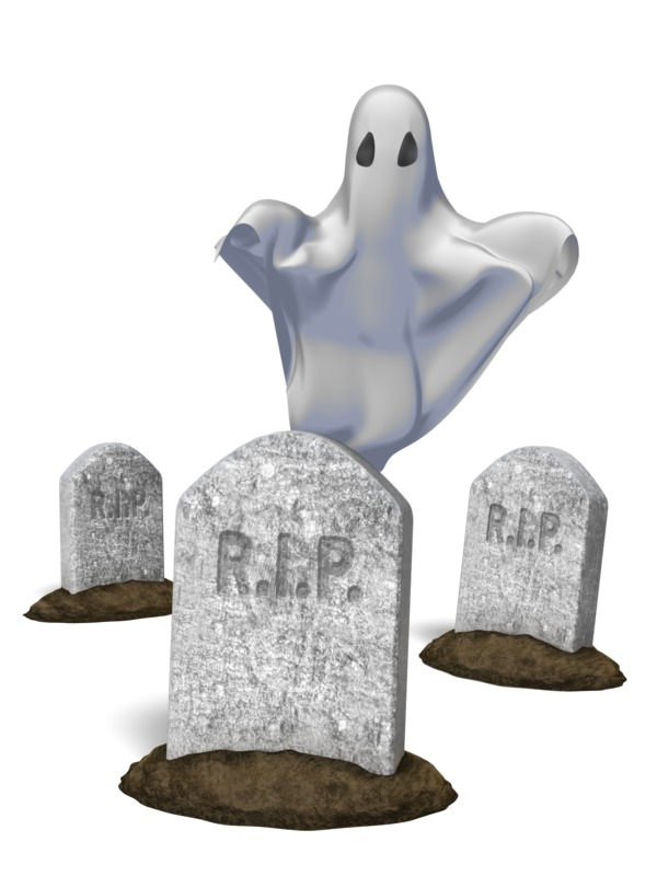 Clipart - Ghost Behind Tombstone