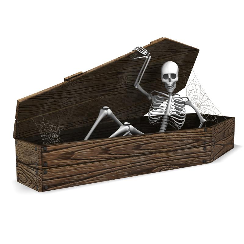 Clipart - Skeleton In Coffin