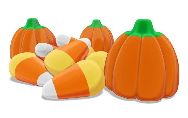 Clipart - Candy Corn and Candy Pumpkin