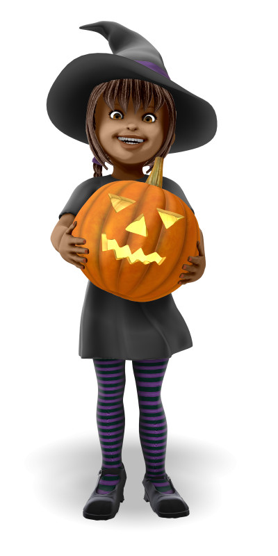Clipart - Young Witch Holding Pumpkin