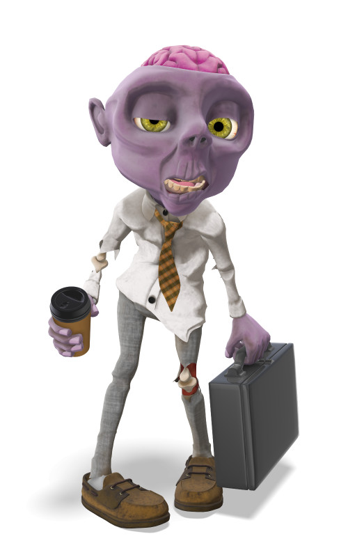 Clipart - Zombie With Cup of Coffee