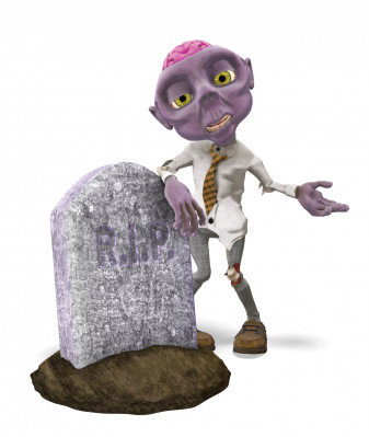 Presentation zombie character deadhead Fred leans on a gravestone.