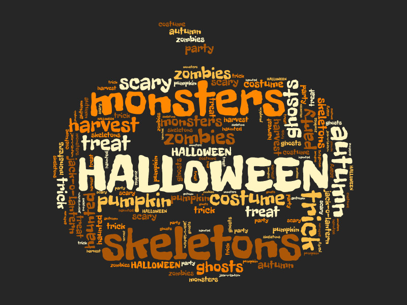 This Presentation Clipart shows a preview of Pumpkin Halloween Word Cloud